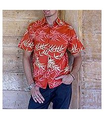 men's cotton batik shirt, 'orange bamboo' (indonesia)
