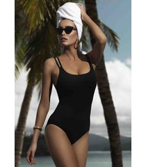 jets by jessika allen double strap swimsuit black