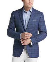 calvin klein blue plaid slim fit sport coat