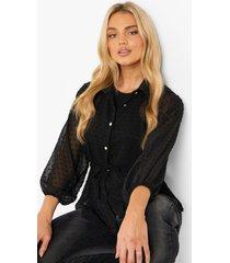 dobby mesh blouse met strik, black