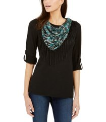 ny collection petite fringe-trim scarf top