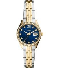 fossil women's micro scarlette two-tone two-tone bracelet watch 28mm