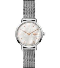 lacoste women's moon stainless steel mesh bracelet watch 28mm