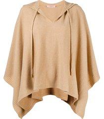 twin-set hooded shawl - neutrals
