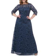plus size women's js collections bateau neck lace gown, size 16w - blue