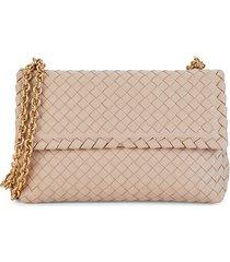 bottega veneta women's intrecciato leather shoulder bag - beige