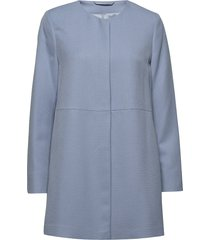 coats woven dunne lange jas blauw esprit collection