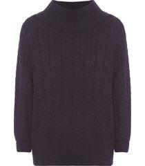 blusa feminina tricot maxi pull - preto