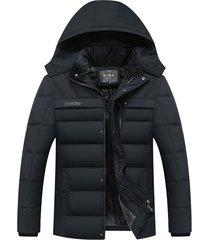 chaqueta hombre invierno capucha gruesa rompeviento 258 negro