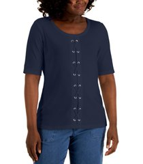 karen scott lace-up top, created for macy's