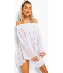 linnen look off shoulder strand jurk, white