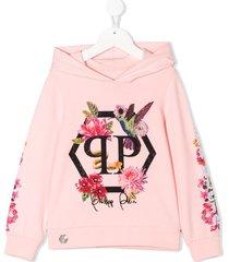 philipp plein crystal flowers hoodie - pink