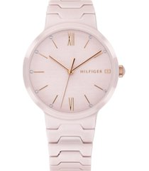 tommy hilfiger women's blush ceramic bracelet watch 36mm