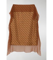 burberry scarf detail monogram print silk pencil skirt