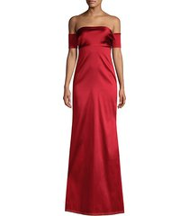 christiane off-the-shoulder satin gown