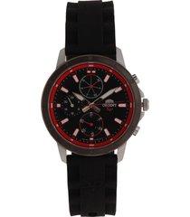 reloj negro-rojo-plateado orient