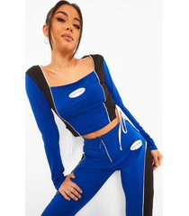 colour block crop top met strik, blue