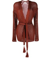 forte forte open front belted cardigan - brown