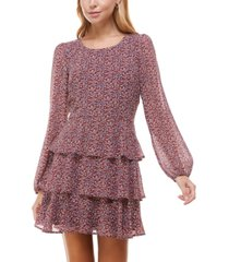 trixxi juniors' tiered floral-print fit & flare dress