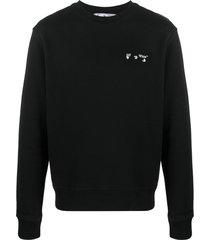 off-white logo-print long-sleeve sweatshirt - black