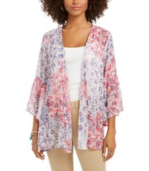 style & co printed flutter-sleeve kimono top, created for macy's