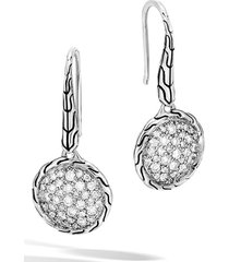 women's john hardy chain classic pave diamond drop earrings