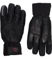 perfect moment padded leather ski gloves - black