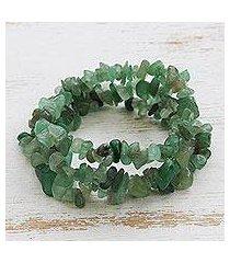 quartz beaded stretch bracelets, 'verdant trio' (set of 3) (brazil)