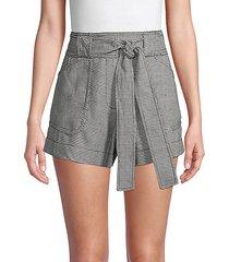 belted cotton & linen-blend shorts