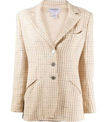 chanel pre-owned 1998 woven checked blazer - neutrals