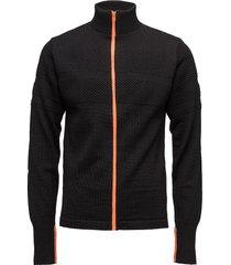 100% wool klemens zip kontrast stickad tröja cardigan svart mads nørgaard