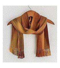 rayon chenille scarf, 'iridescent ocher' (guatemala)