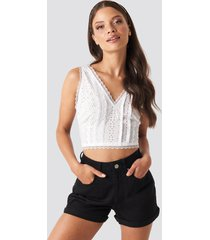 na-kd folded hem high waist denim shorts - black