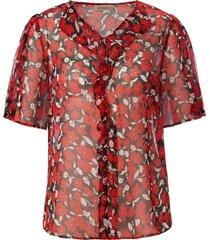 blouse 100% zijde korte mouwen en v-hals van uta raasch multicolour