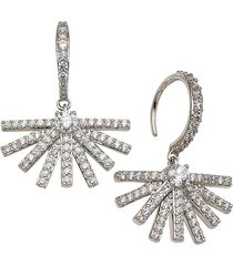 adriana orsini women's rhodium-plated & crystal ambrosia fan hook earrings