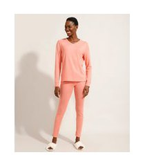 pijama manga longa decote v rosa