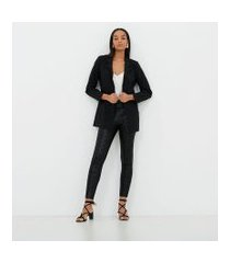 calça legging animal print com ziper lateral | cortelle | preto | pp