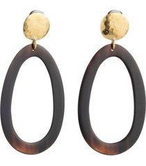 natori buffalo nail oval clip earrings, women's, brown natori
