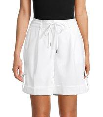 calvin klein women's tab-up shorts - soft white - size 10