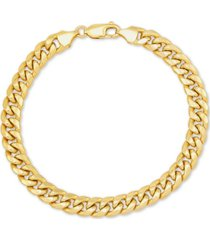 "italian gold men's miami cuban link 9-1/2"" chain braceletin 10k gold"