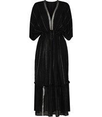 lemlem tikuri v-neck flared midi dress - black