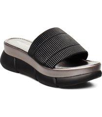 slip-on sandals shoes summer shoes flat sandals svart ilse jacobsen
