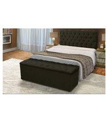 cabeceira mais calçadeira baú king 190cm para cama box sofia corino preto - ds móveis
