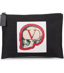 valentino garavani men's skull logo pouch - nero