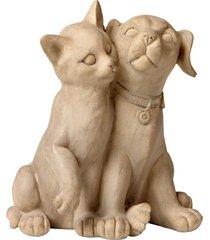 escultura decorativa de resina cat dog