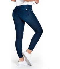 jean skinny tono medio oscuro con rotos