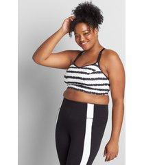 lane bryant women's livi soft low-impact no-wire sport bra 18/20 tiny tie dye stripe