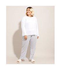 pijama manga longa plus size com poá branco