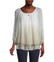 le marais women's ombré layered silk top - taupe - size l
