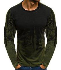 hombres camuflaje impreso hombre t shirt bottoms top tee hombre-verde